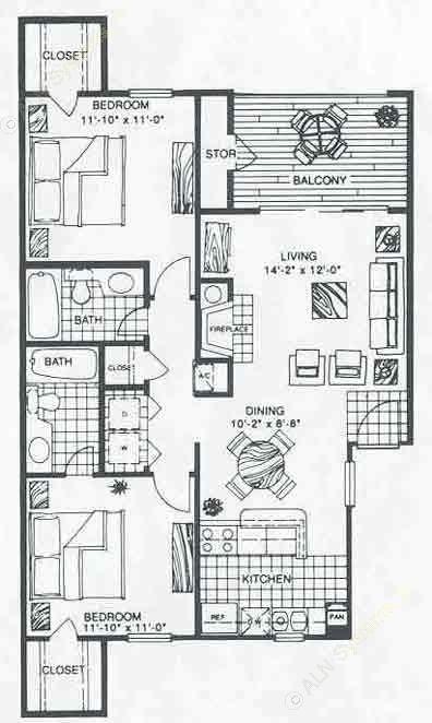 906 sq. ft. B2A floor plan