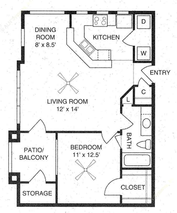 710 sq. ft. Hampton /A1 floor plan