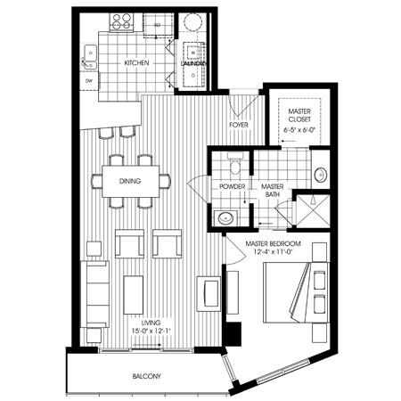 920 sq. ft. A6 floor plan