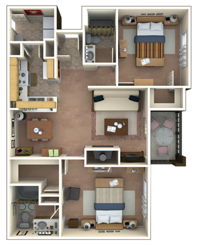 1,084 sq. ft. floor plan