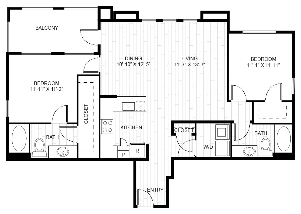 1,231 sq. ft. B4 floor plan
