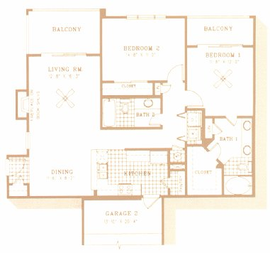 995 sq. ft. to 1,285 sq. ft. B2 floor plan