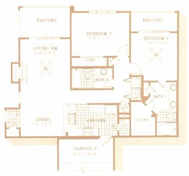 995 sq. ft. to 1,285 sq. ft. B2 floor plan