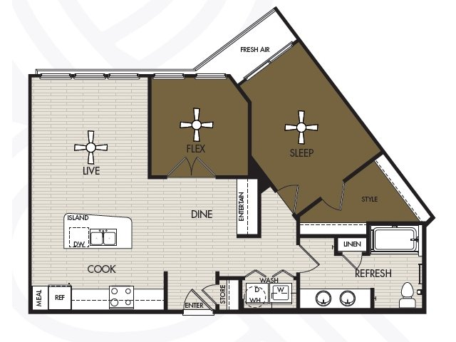 958 sq. ft. A4a floor plan