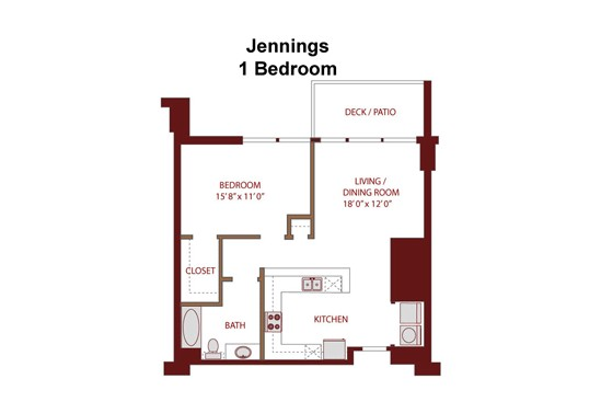 775 sq. ft. Jennings A3a floor plan