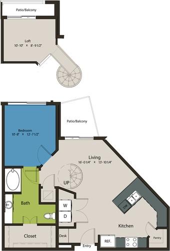 903 sq. ft. A7-L1 floor plan