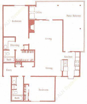 1,100 sq. ft. E floor plan