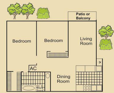 900 sq. ft. D floor plan