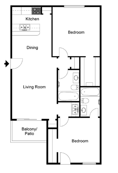 963 sq. ft. B floor plan