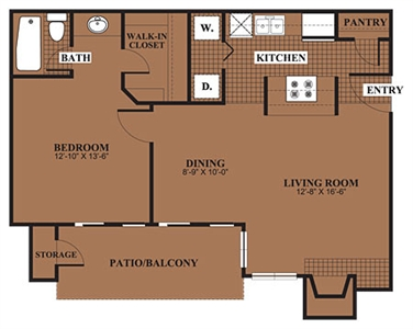 766 sq. ft. A2 floor plan