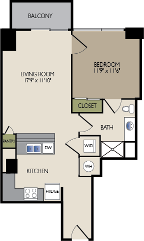 702 sq. ft. B1 floor plan