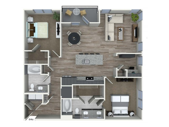 1,252 sq. ft. B8D floor plan