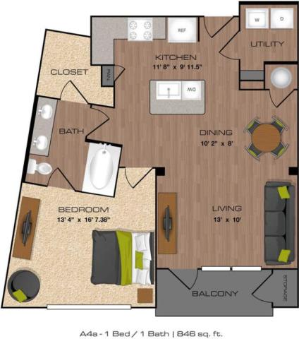 846 sq. ft. A4A floor plan