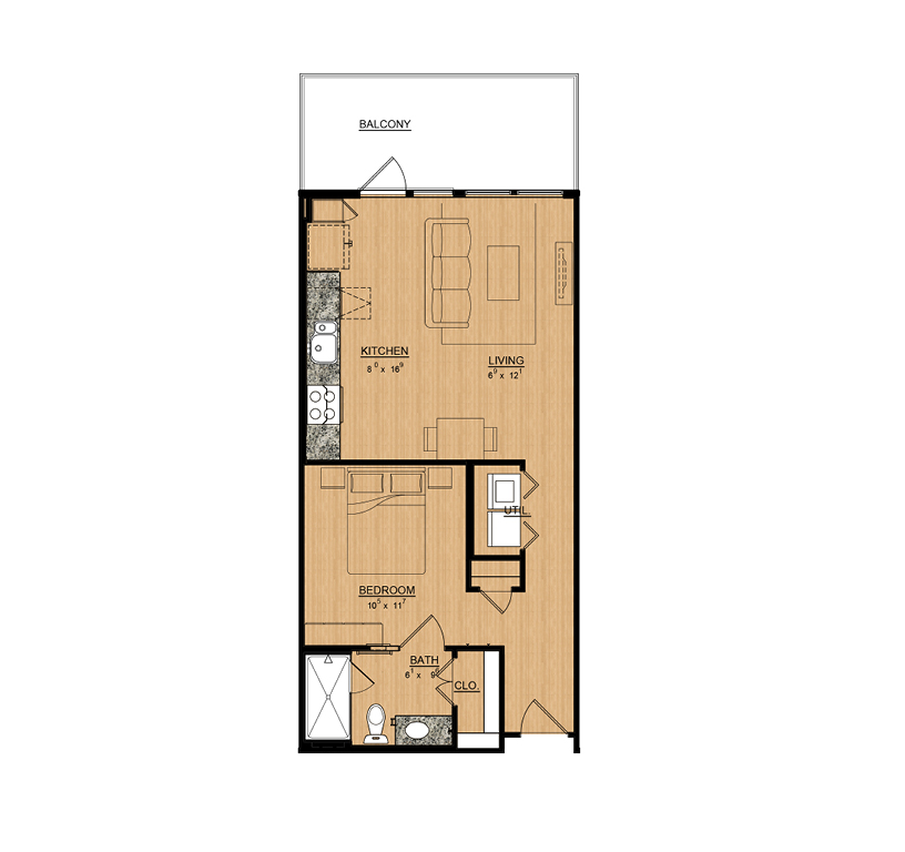 645 sq. ft. Orchid floor plan