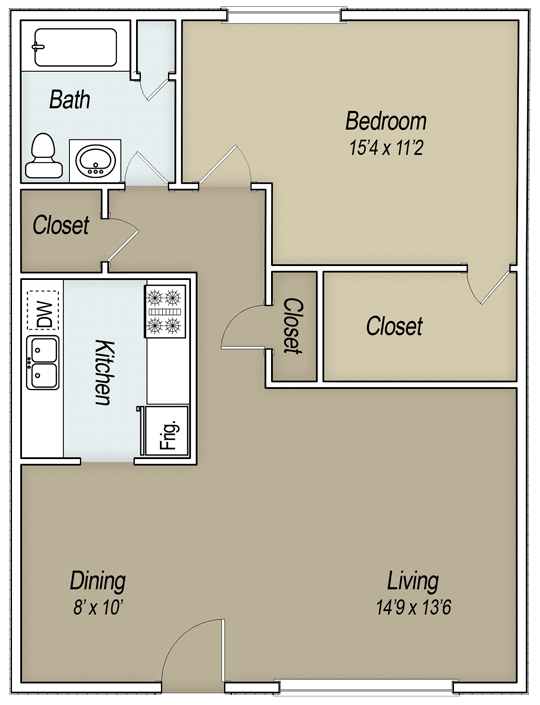 846 sq. ft. A1F floor plan