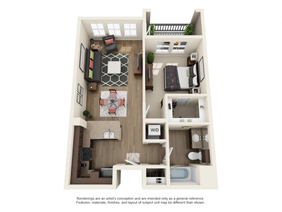 749 sq. ft. A3 floor plan