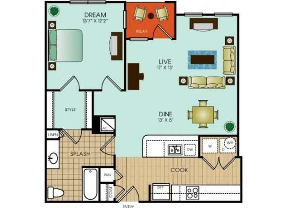 838 sq. ft. floor plan