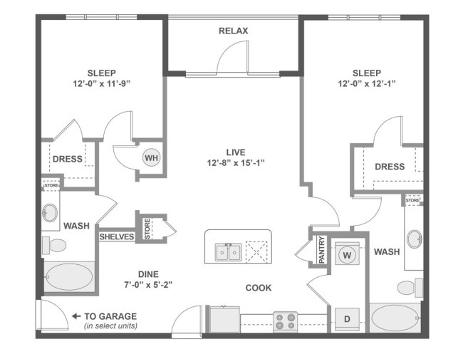 1,124 sq. ft. C5 floor plan
