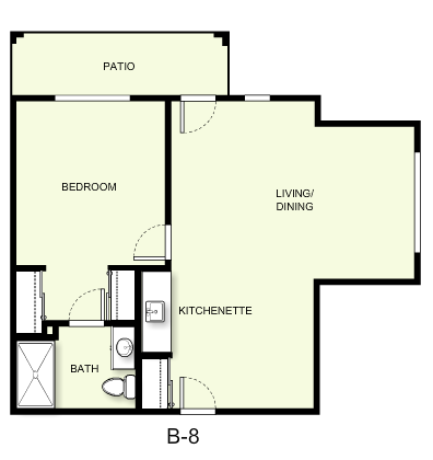 703 sq. ft. B8 floor plan