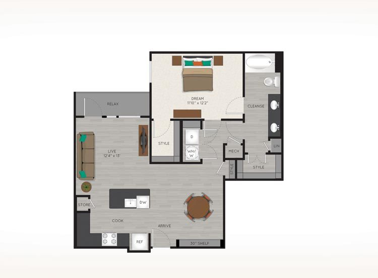 900 sq. ft. A4 floor plan