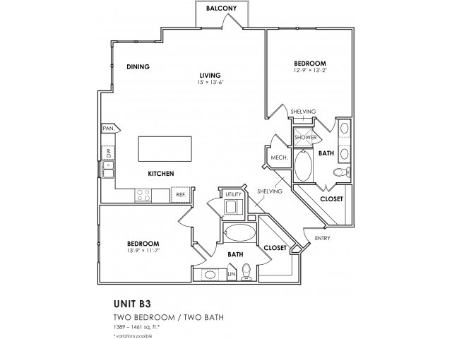 1,253 sq. ft. B1-2 floor plan