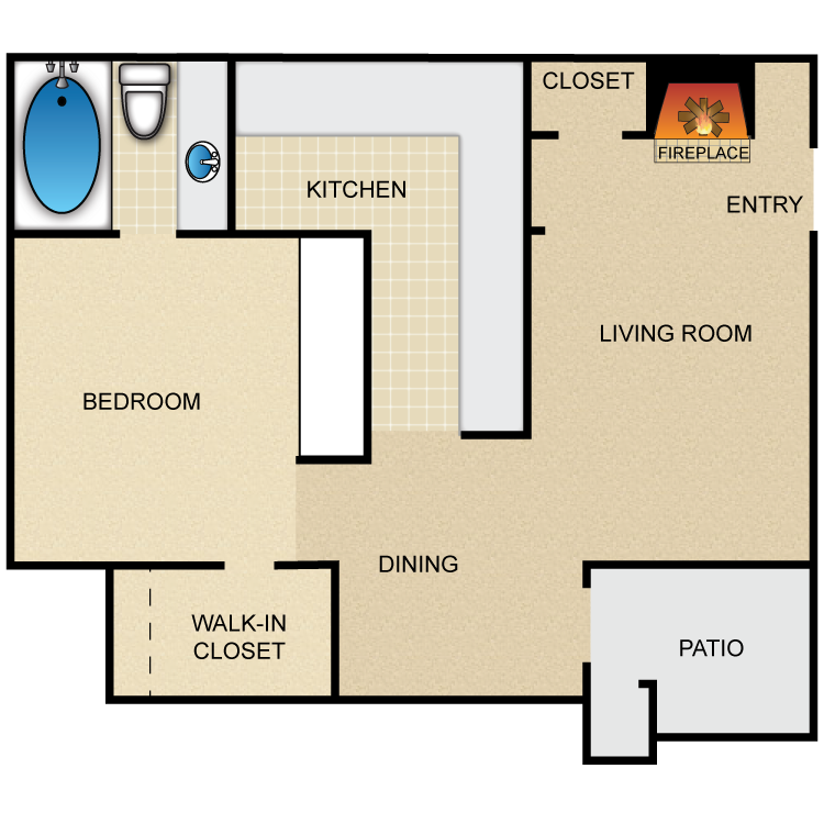 600 sq. ft. Frisco floor plan