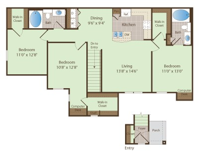 1,335 sq. ft. WALKER floor plan