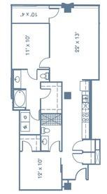 1,090 sq. ft. B1 floor plan