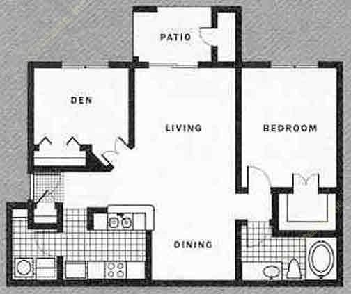 870 sq. ft. C w/Garage floor plan