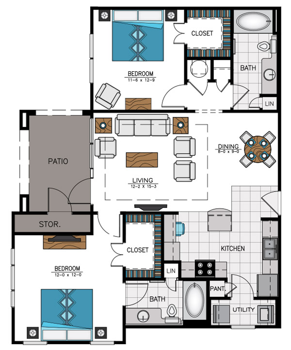 1,121 sq. ft. B7A floor plan