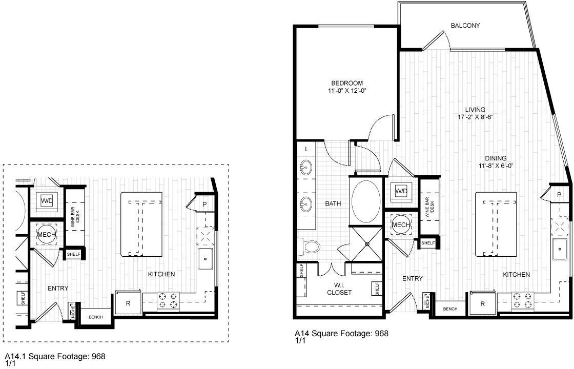 968 sq. ft. A14 floor plan