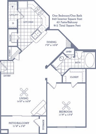 849 sq. ft. A5 floor plan