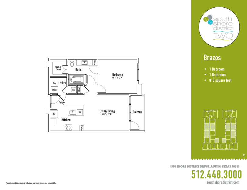 810 sq. ft. Brazos floor plan