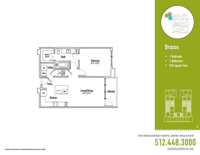 810 sq. ft. Brazos floor plan
