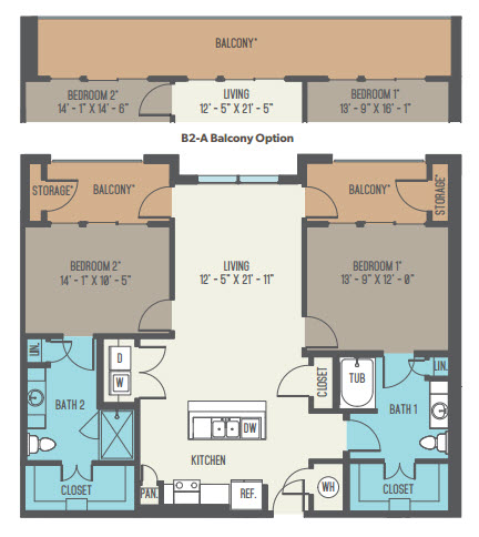 1,341 sq. ft. B2-A floor plan