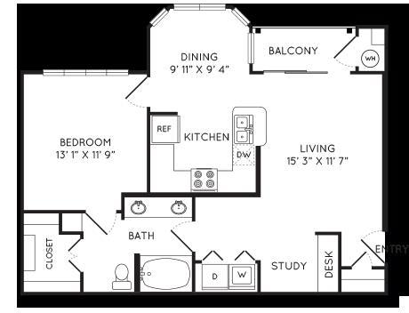 811 sq. ft. A3 floor plan