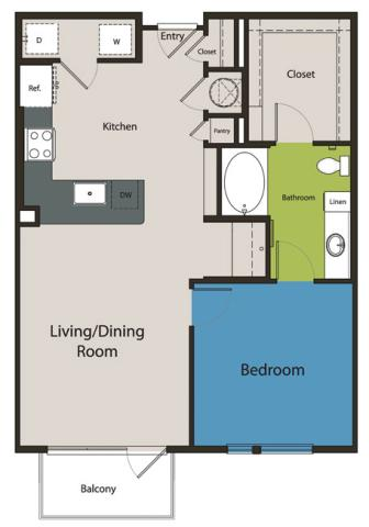 842 sq. ft. A5 floor plan
