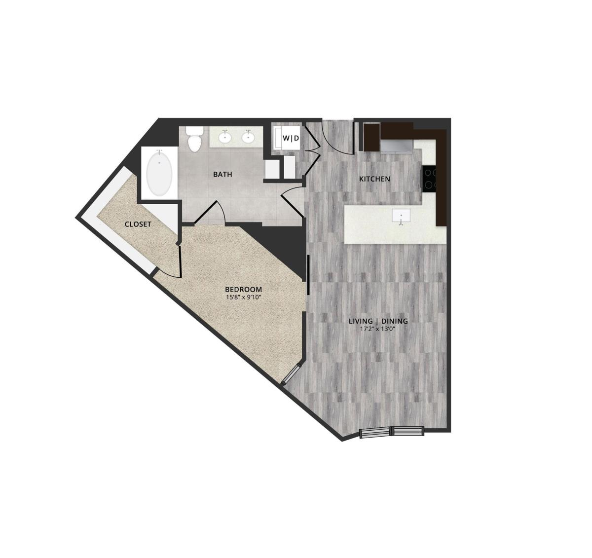 755 sq. ft. B4 floor plan