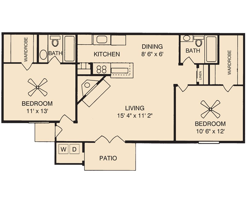 920 sq. ft. Amethyst floor plan