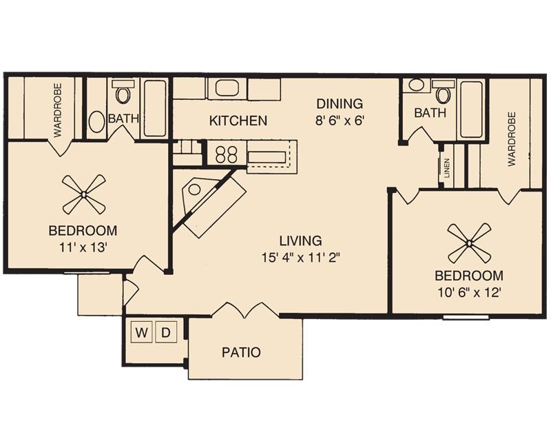 920 sq. ft. Amethyst floor plan