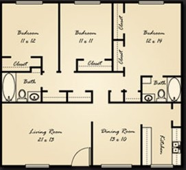 1,343 sq. ft. C1 floor plan