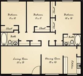 1,343 sq. ft. C1 floor plan