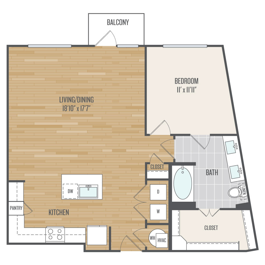 951 sq. ft. A10 floor plan