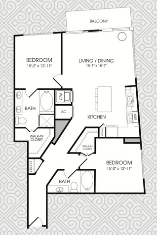 1,275 sq. ft. B5 floor plan