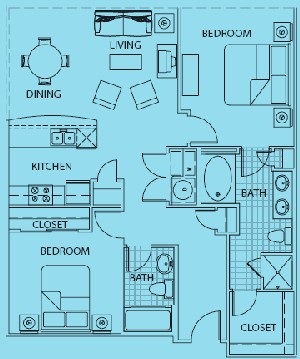 1,080 sq. ft. to 1,140 sq. ft. Napoli floor plan