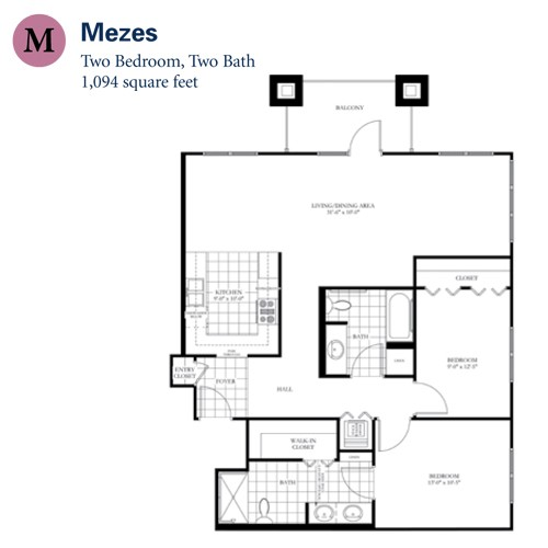 1,094 sq. ft. Mezes floor plan