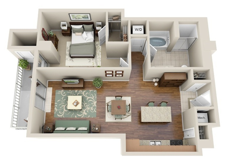 815 sq. ft. A6 floor plan