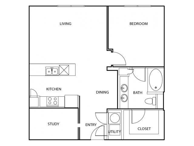 870 sq. ft. A4 floor plan