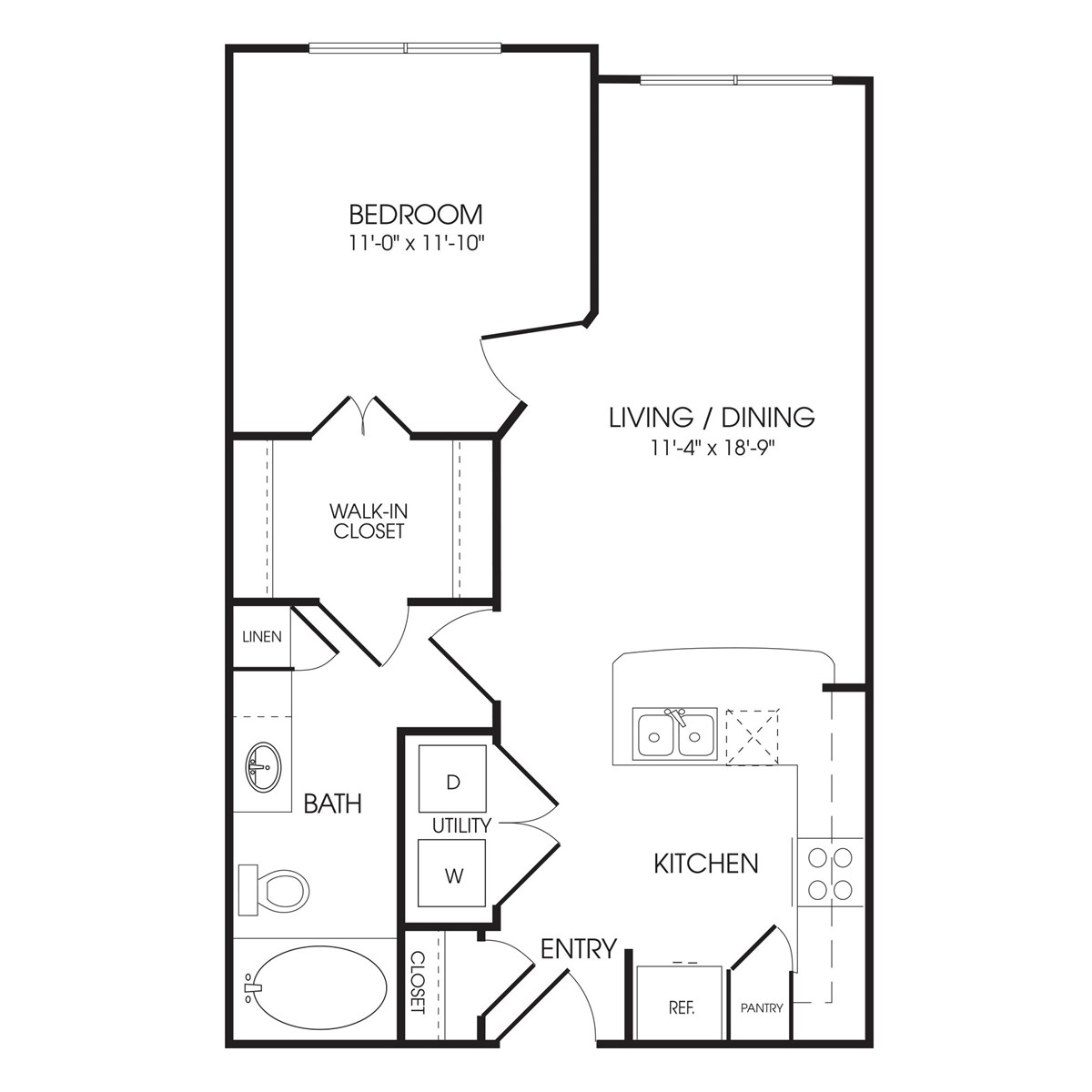 647 sq. ft. Hyde Park floor plan