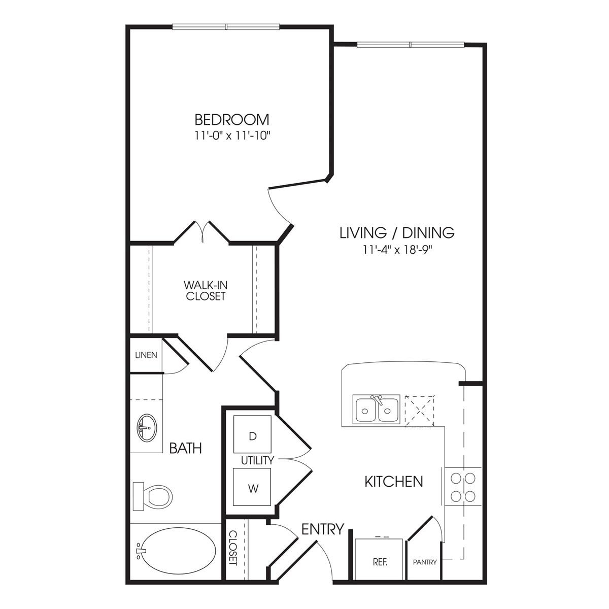 647 sq. ft. Hyde Park floor plan
